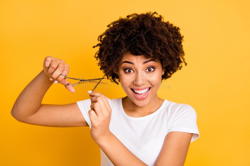 Close up photo beautiful amazing she her dark skin lady hold hair scissors hands ready decided change style hairdress. Wear casual white t-shirt isolated yellow royalty free stock images
