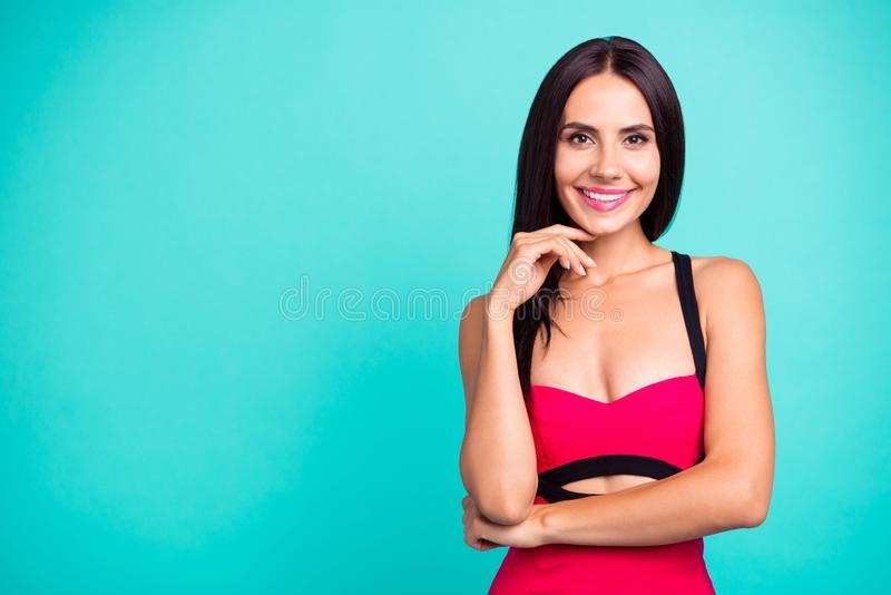 Close up photo beautiful amazing she her lady hand arm finger chin toothy mouth perfect ideal appearance skinny body. Wear formal-wear red tempting dress stock photos