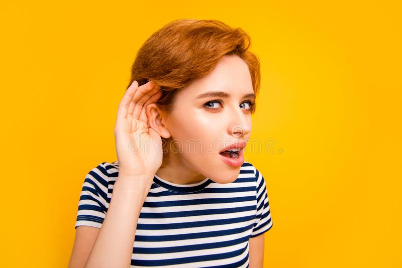 Close up photo beautiful amazing she her lady hand arm raised to ear listening romours chatterbox bad person wearing royalty free stock images