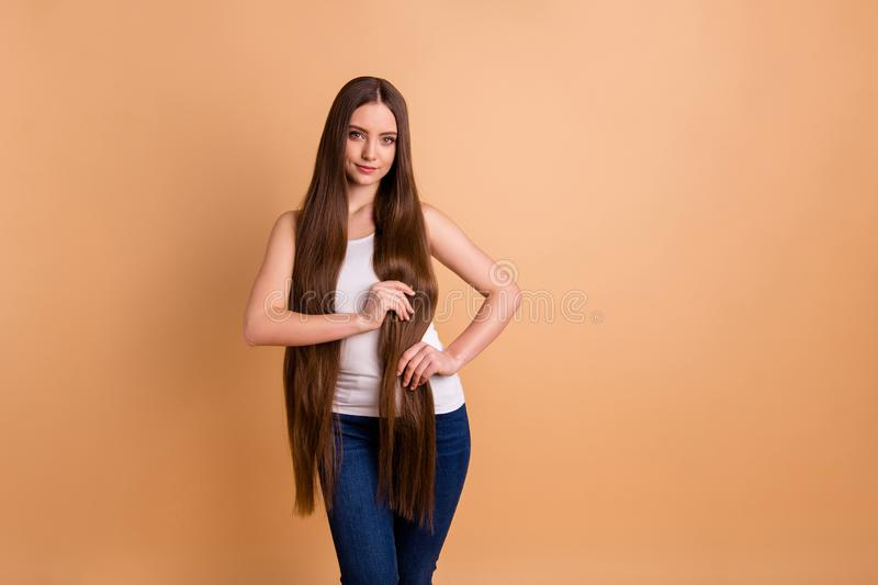 Close up photo beautiful amazing her she lady hold arms very long brown hair great condition curls show results after. Close up photo beautiful amazing her she royalty free stock image