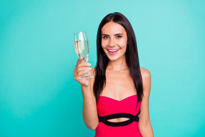 Close up photo beautiful amazing she her lady little drunk hold arm hand golden beverage glass toothy funny funky stock photography