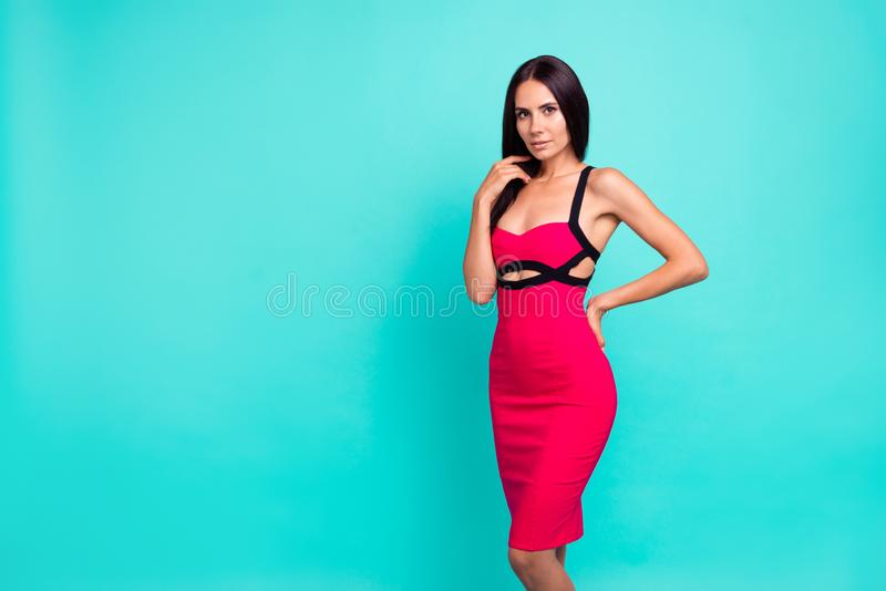 Close up photo beautiful amazing she her lady perfect ideal appearance skinny body long straight hairstyle not smiling. Wear formal-wear red tempting dress stock images
