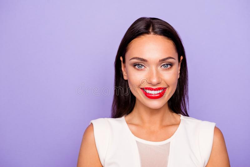 Close up photo beautiful amazing she her lady show white teeth perfect appearance visage maquillage plump allure pouted. Tempting red lips wear formal wear royalty free stock photo