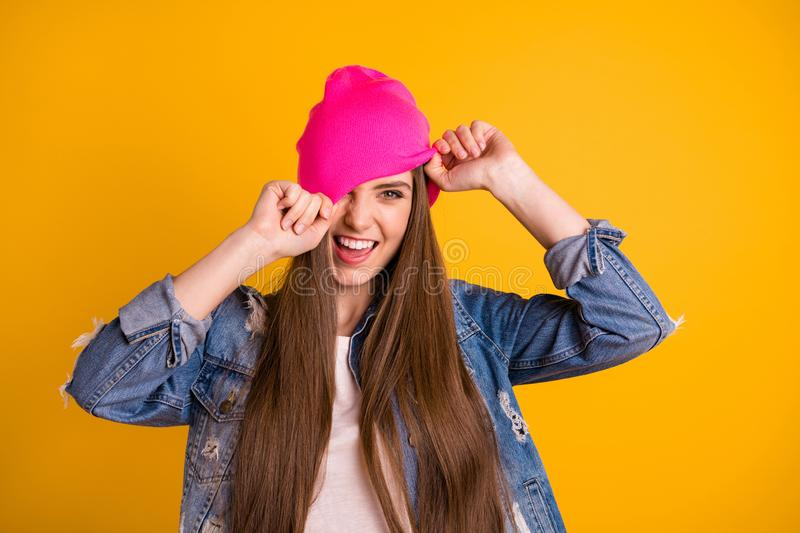 Close up photo beautiful amazing she her lady very long hairstyle hands arms close cover hide cap eye chill friends stock images