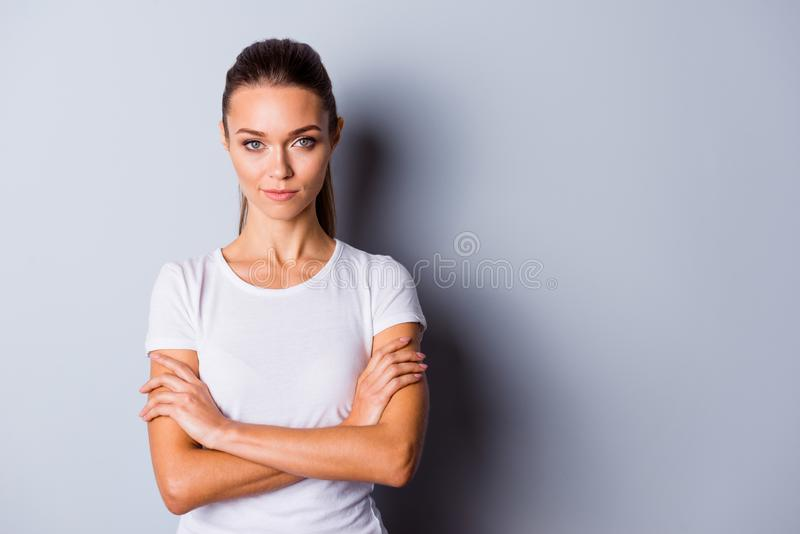 Close up photo beautiful amazing she her no smiling lady perfect appearance crossed self-confident easy-going listening. Good news sure such results wear casual royalty free stock image