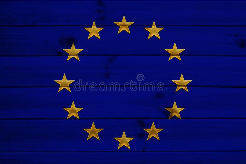 Close-up photo of beautiful colored stylized European Union flag, symbol of united Europe on textured fabric, concept of tourism, royalty free stock image