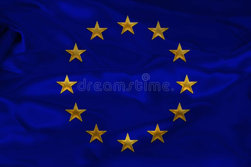 Close-up photo of beautiful colored stylized European Union flag, symbol of united Europe on textured fabric, concept of tourism,. Emigration, economy and stock photography