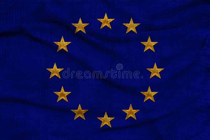 Close-up photo of beautiful colored stylized European Union flag, symbol of united Europe on textured fabric, concept of tourism,. Emigration, economy and royalty free stock photo