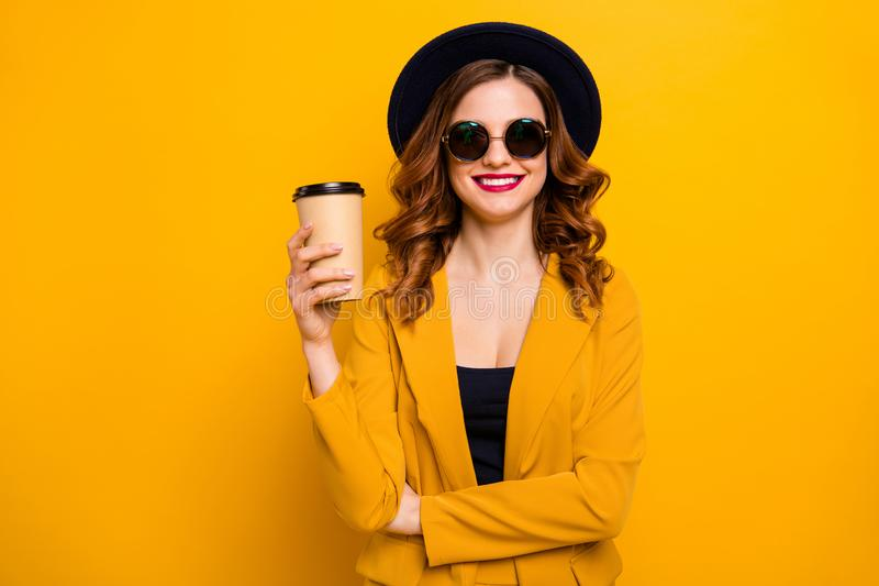 Close up photo beautiful dreamy she her lady vacation hot beverage takeout paper container hand arm white perfect teeth. Red pomade wear specs formal-wear suit stock image