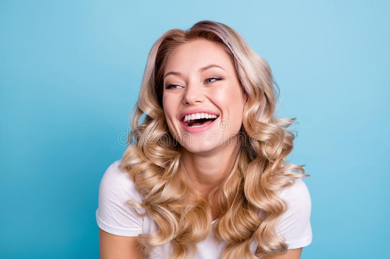 Close up photo beautiful friendly her she lady dimples cheeks cheekbones self-confident sweet look comedian wear casual stock images