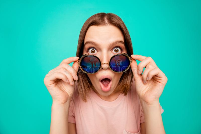 Close up photo beautiful funny funky her she lady take sunglass off oh no expression said wrong bad thing trip abroad royalty free stock photos