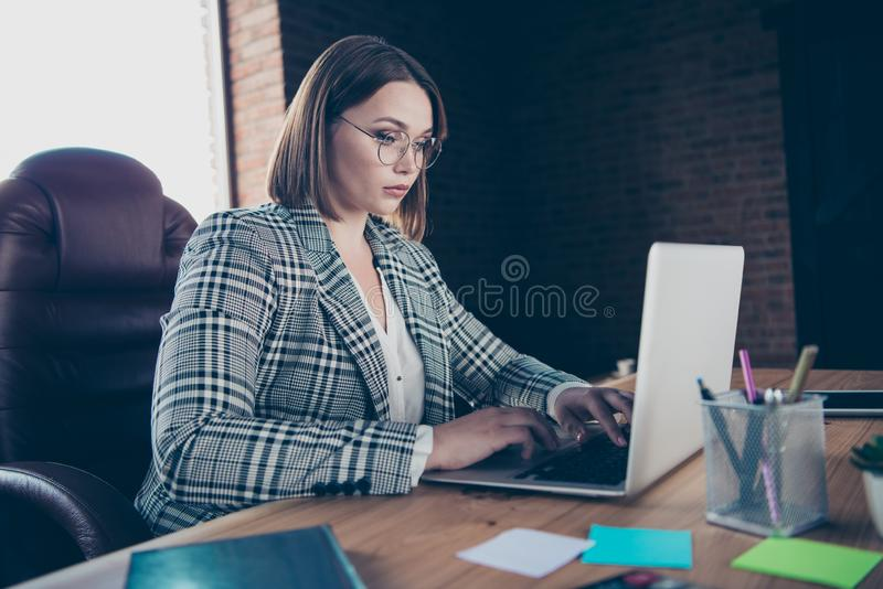 Close up photo beautiful she her business lady chief use user modern technologies check new letters currency email royalty free stock images
