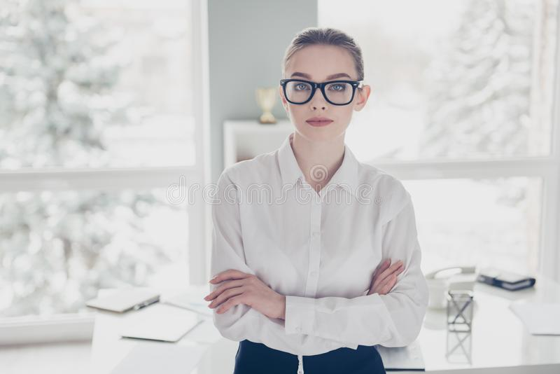 Close up photo beautiful she her business lady eyewear eyeglasses hands arms crossed self-confident ready conference win stock images
