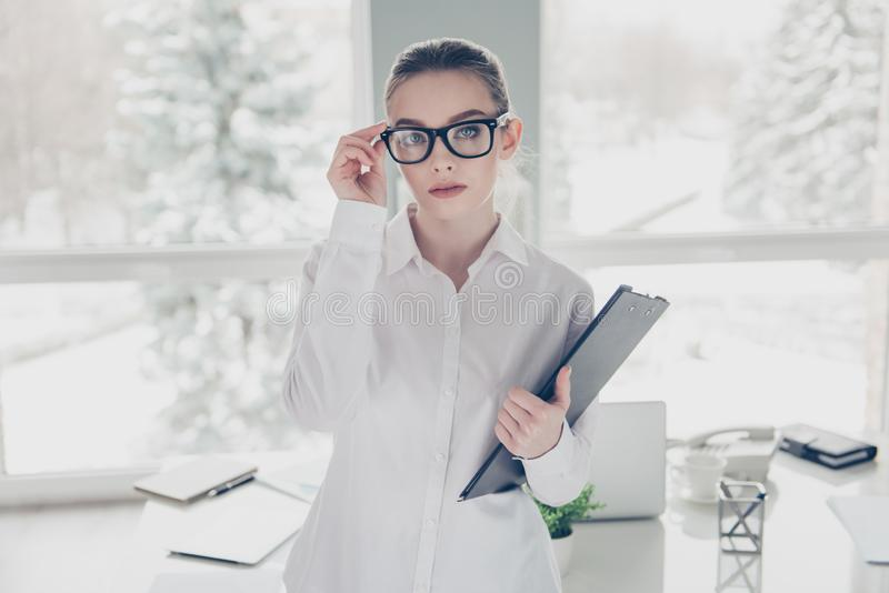 Close up photo beautiful she her business lady hands arms hold eyeglasses eyewear clipboard documents papers ready stock photography