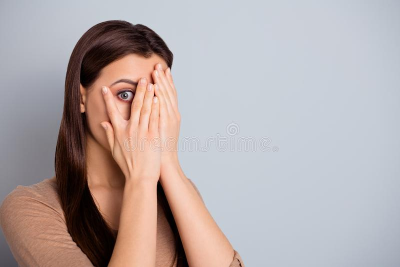Close up photo beautiful she her lady ideal perfect appearance hands arms hide scared facial expression very scary movie. Close up photo beautiful she her lady royalty free stock photo