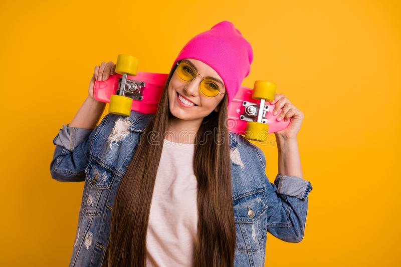 Close up photo beautiful she her lady long hairstyle hands arms colorful longboard look wondered wait call to start race stock image