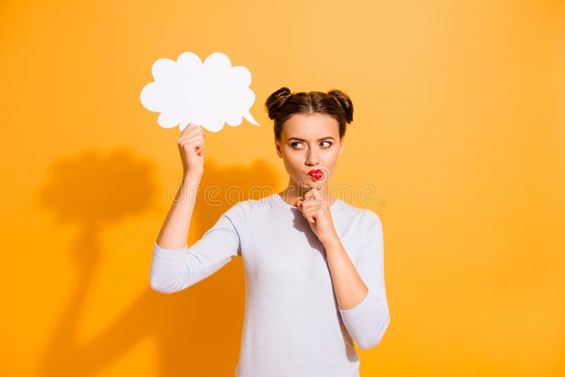 Close up photo beautiful she her lady pretty hairdo two buns hand arm chin look empty space uncertain decision filling stock photos