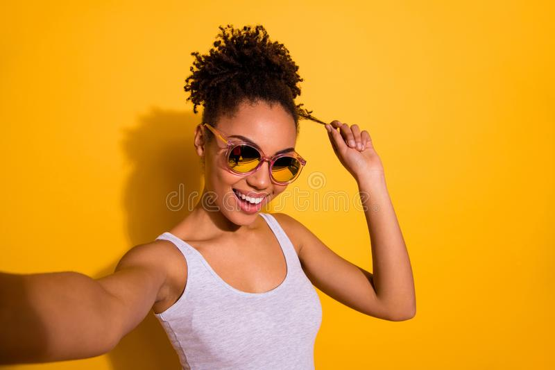 Close up photo beautiful nice pretty she her dark skin lady summer weekend rest relax make take selfies blogger play. Close up photo beautiful nice pretty she stock image