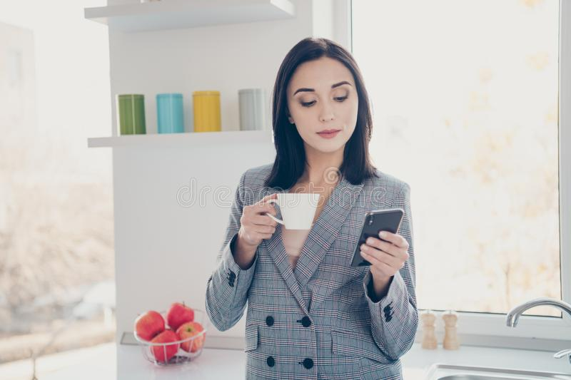 Close up photo beautiful reader she her coach lady banker chief hands arms look telephone report hot beverage coffee. Close up photo beautiful reader she her royalty free stock photos