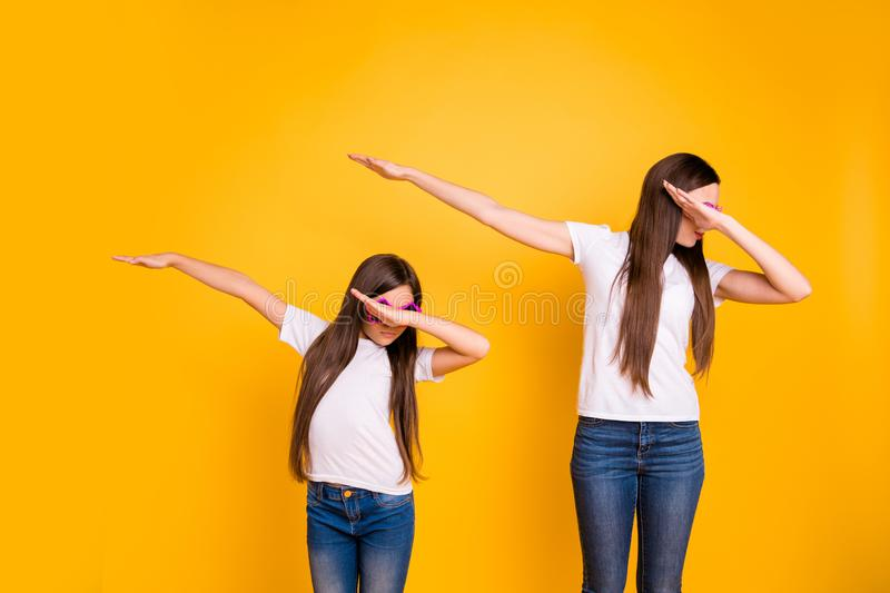 Close up photo beautiful two people she her diversity different age ladies hands arms air strange modern move disco royalty free stock images