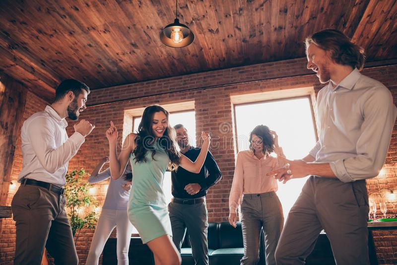 Close up photo best friends club people hang out dancing great time drunk birthday sing singer favorite songs she her. Ladies he him his guys wear dress shirts stock image
