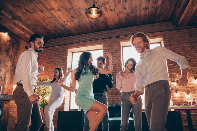 Close up photo best friends hang out dancing great time drunk birthday sing singer favorite songs energetic she her. Ladies he him his guys wear dress shirts royalty free stock image