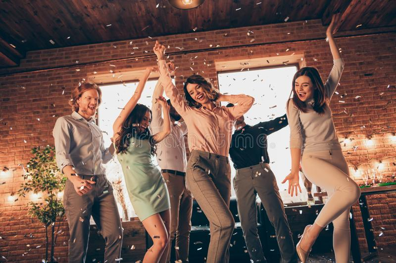 Close up photo best friends hang out dancing great time drunk birthday sing singer favorite songs energetic she her. Ladies he him his guys wear dress shirts stock image