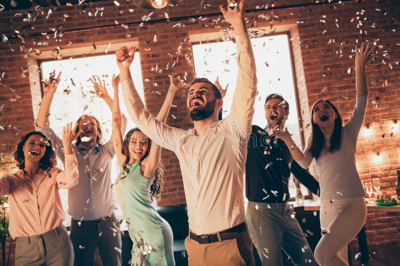 Close up photo best friends hang out dancing great time drunk birthday sing singer hands arms raised up shout she her royalty free stock image