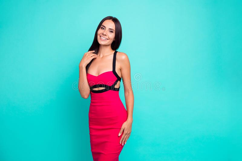 Close up photo brilliant beautiful amazing she her lady show white teeth perfect appearance skinny body long hairstyle. Wear formal-wear red tempting dress stock image