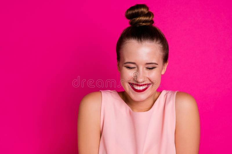 Close up photo charming attractive teenager people want wish desire anticipation close eyes glad content top-knot. Close up photo charming attractive teenager royalty free stock images