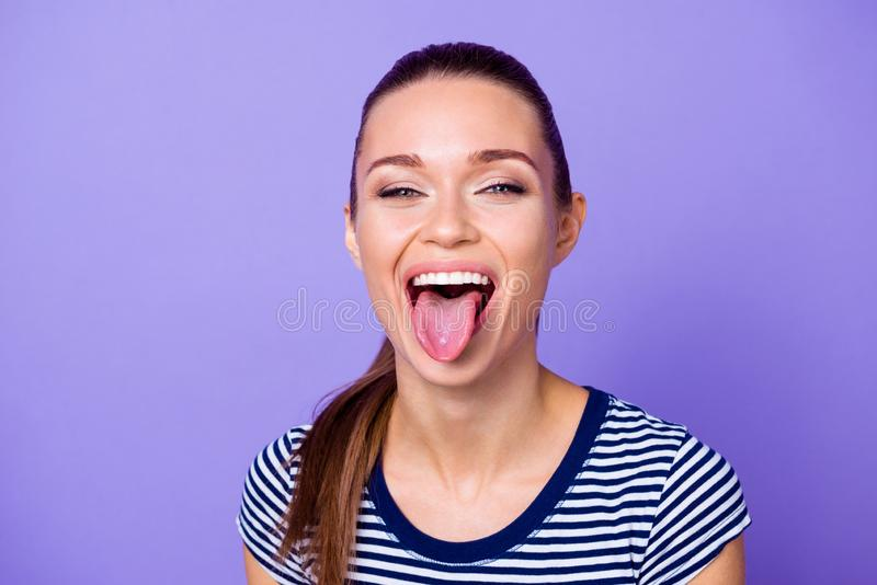 Close up photo of charming cute youngster lady make faces scream delighted content glad candid satisfied fool dressed stock image