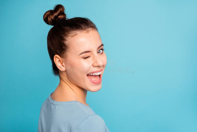 Close up photo of charming magnificent youth millennial amazed laugh feel glad have holidays weekends isolated wear. Spring fashionable clothes on colorful stock photography
