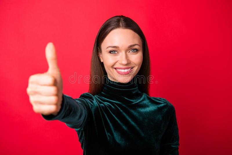 Close up photo of charming millelnial have ads excellent deal done isolated over she her red background royalty free stock images