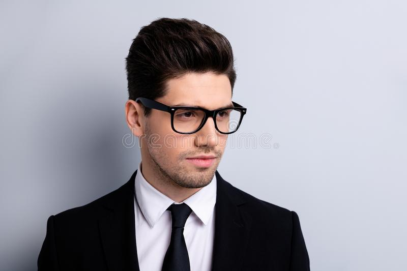 Close up photo of charming nice collar have specs modern fashionable feel trendy ready work solve problem create. Strategy startup dressed in modern clothing royalty free stock photo