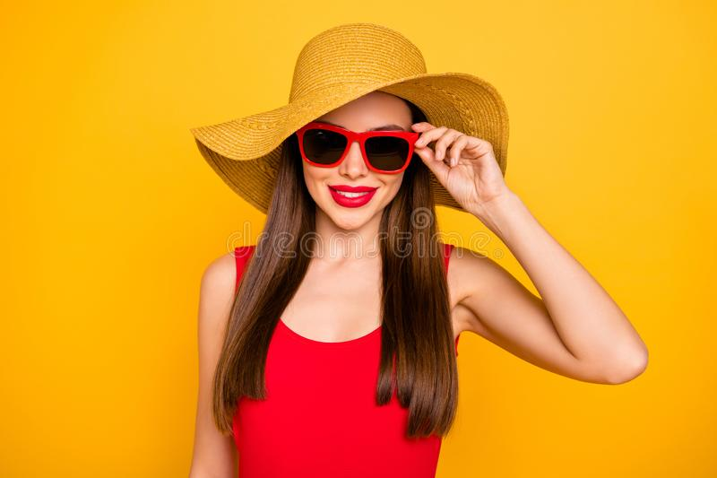 Close up photo of cheerful amazing lady bright lipstick nice colorful look trip voyage wear specs sun hat red swimming. Close up photo of cheerful amazing lady royalty free stock photos