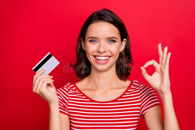 Close up photo cheerful charming lady positive satisfied advert alright good like fine choice decision advice promoter royalty free stock photos