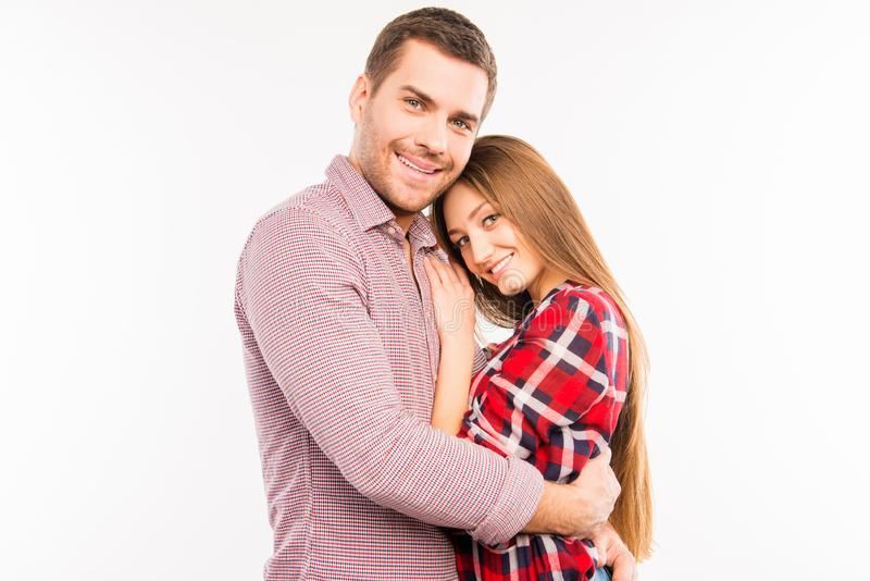 Close up photo of cheerful hugging couple in love royalty free stock photos