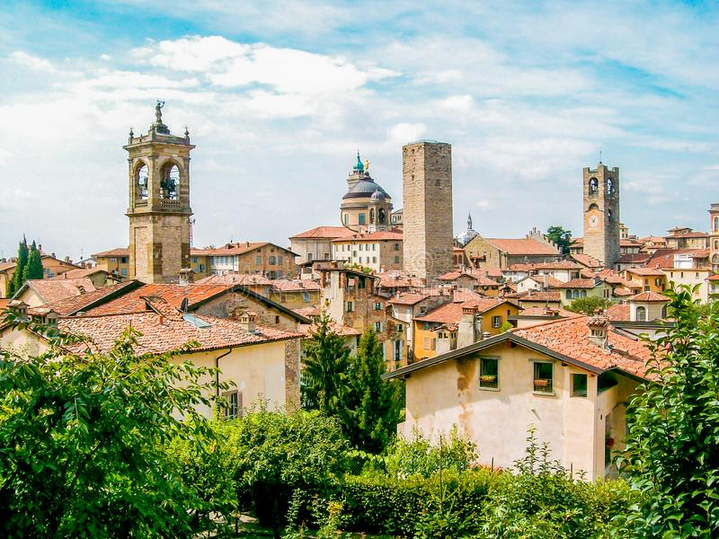 Close-up photo of the `Città Alta` of Bergamo, Italy, with the church tower royalty free stock photography
