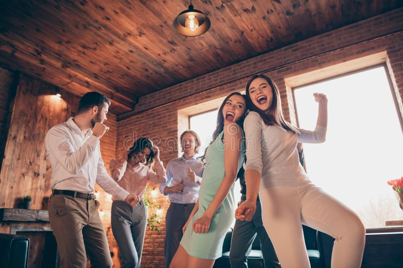 Close up photo classy best friends club hang out dancing great evening drunk birthday sing singer songs she her chic. Ladies he him his guys wear dress shirts royalty free stock image