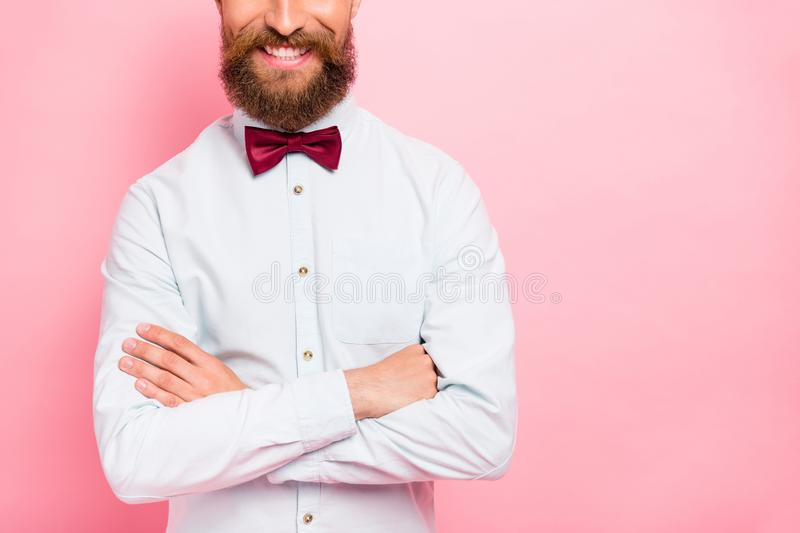 Close-up photo of clever positive glad waiter restaurant worker with beaming smile isolated bright background stock photo