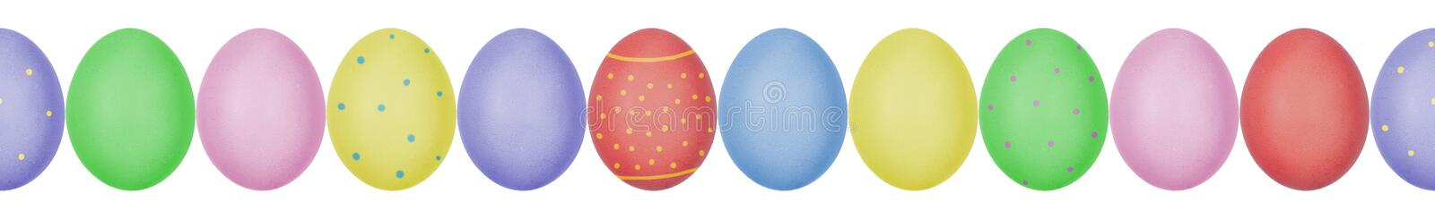 Close up photo of colorful painted Easter eggs with eggshell texture arranged in a row. Seamless pattern. Isolated on white background. Can be used as a banner stock photo