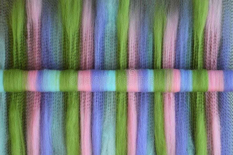 Green, pink, blue, and purple wool rolag on a blending board stock photo