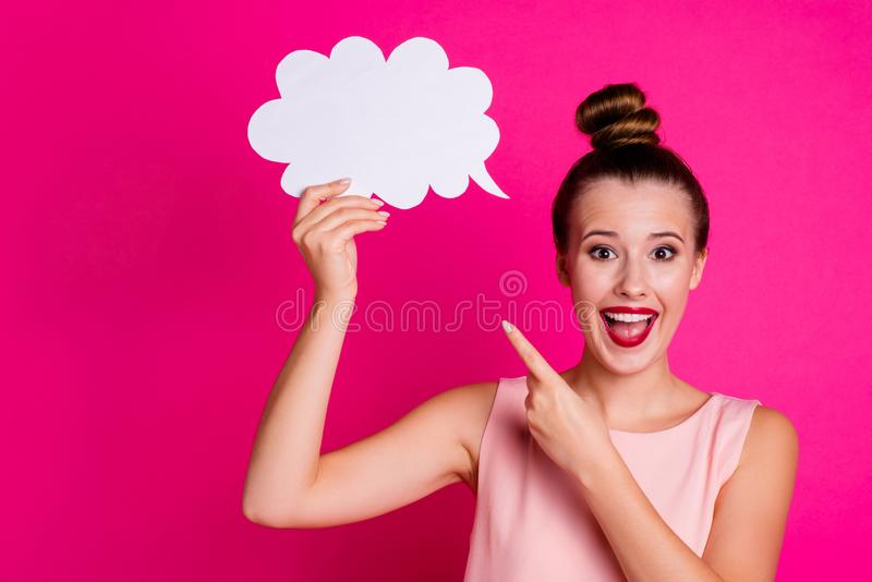 Close up photo cute charming lovely nice pretty youngster hold hand paper card cloud astonished impressed wow omg. Close up photo cute charming lovely nice royalty free stock photos