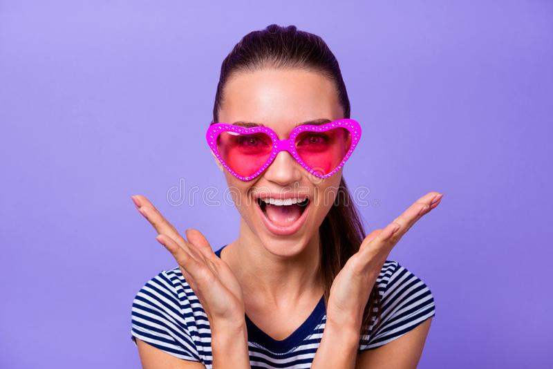 Close up photo of cute funny funky teen teenager astonished impressed incredible information discount novelty wonder stock image