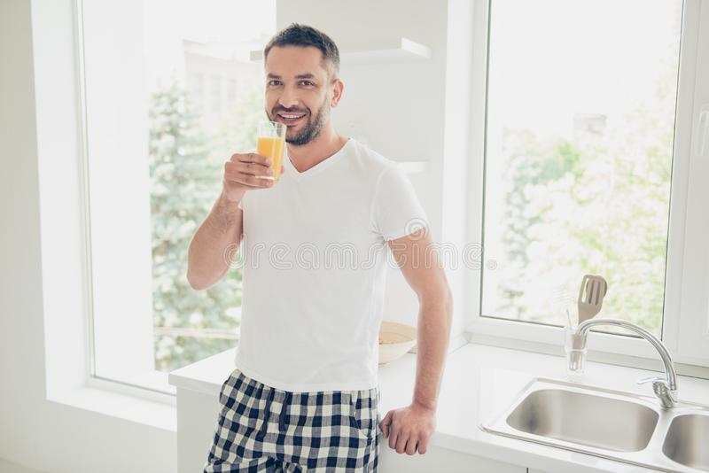 Close up photo fall asleep he him his attractive guy vacation sunday saturday arm hand orange juice glass energy. Close up photo fall asleep he him his royalty free stock photos