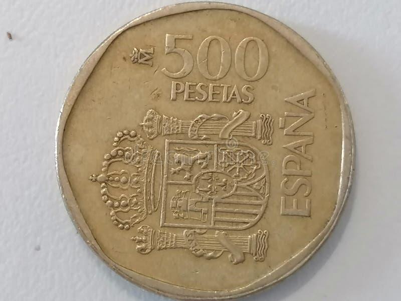 Close-up five hundred pesetas Spain royalty free stock photo