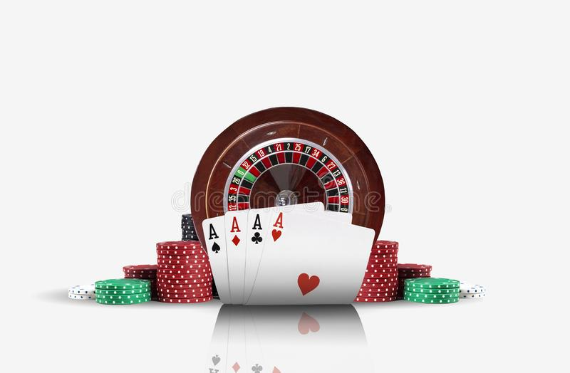 Close-up photo of four aces standing ahead of a brown roulette and chips in piles, isolated on white background. Playing cards. Gambling entertainment, poker royalty free stock photo