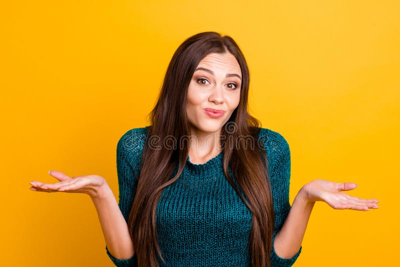 Close up photo funky beautiful amazing her she lady arms hands palms sides not my fault expression long straight brown royalty free stock image