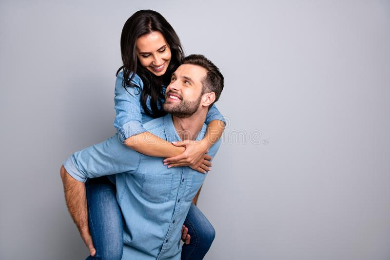 Close up photo funky cheer crazy she her he him his couple in love lady guy best friends piggyback ride buddies fellow stock images