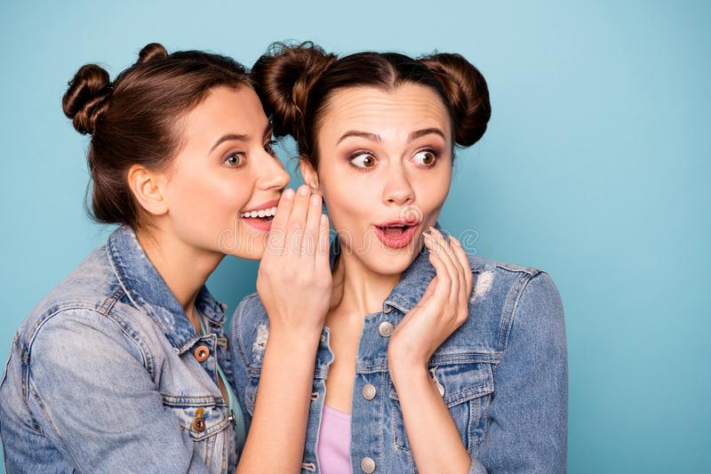 Close up photo of funny cute ladies impressed isolated sharing mysteries news unbelievable information touching chin royalty free stock photography